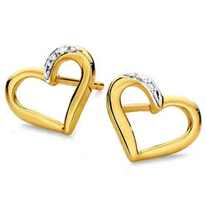 Facetzinspire Diamond Heart Gold Earrings