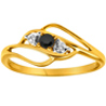 Facetzinspire Real Diamond Black AD Gold Ring