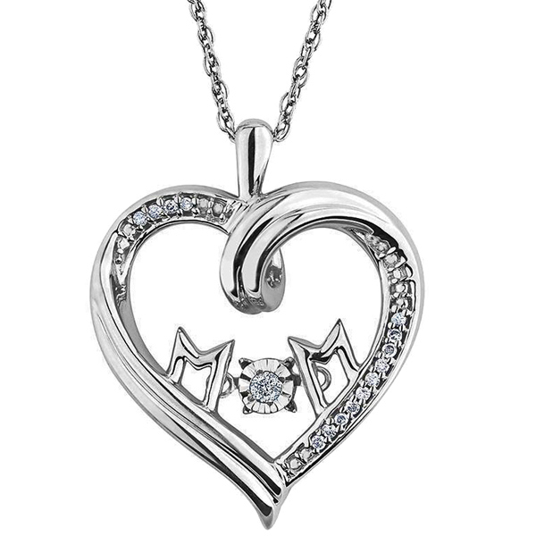 FacetzInspire Diamond Sterling Silver Mom Heart Pendant