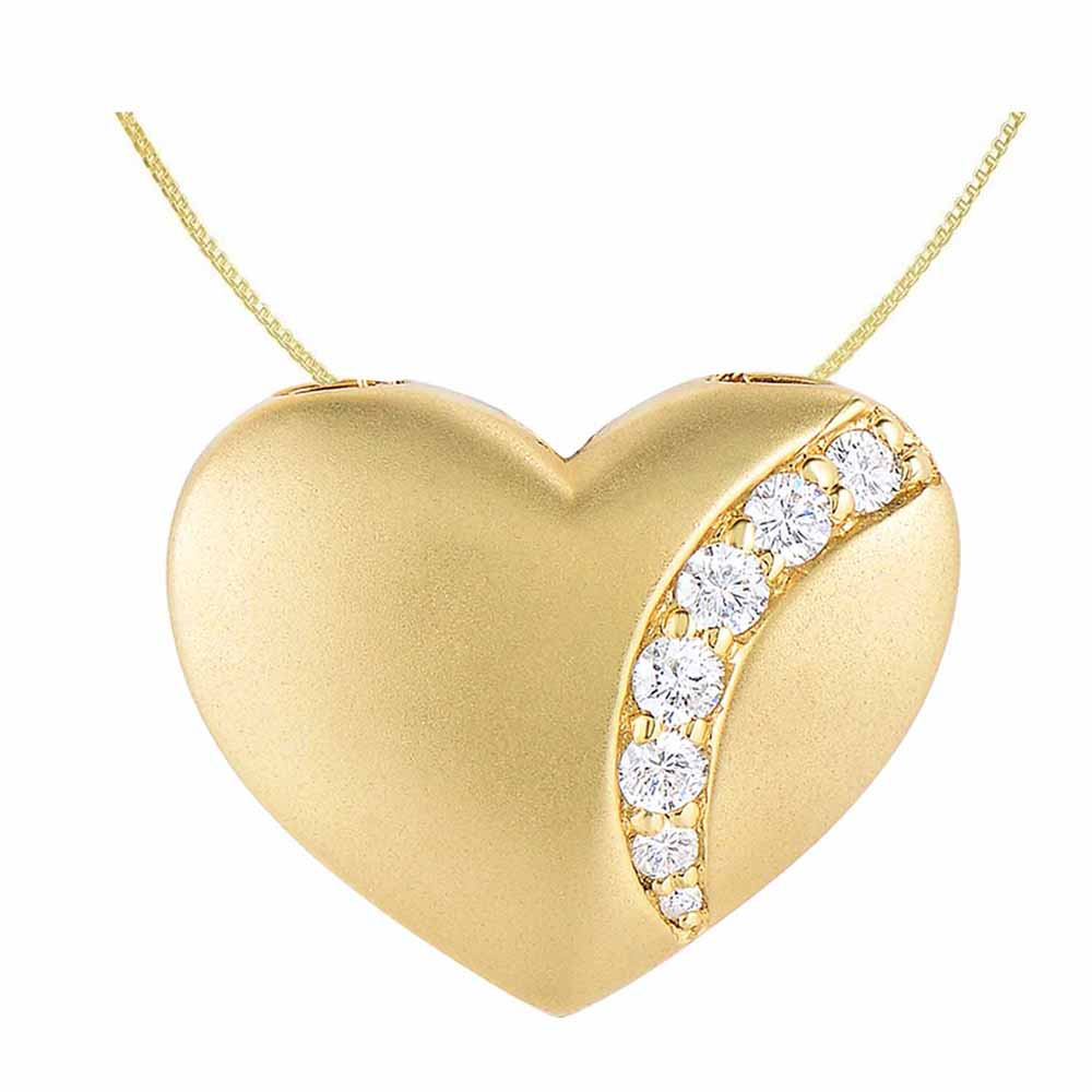 Real Diamond 92.5 Sterling Heart Silver Pendant With Italian Chain