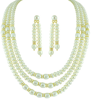 Jpearls Three String Pearl Set