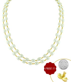 Jpearls Dual String Pearl Gold Chain