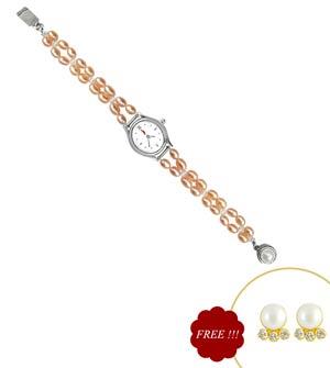 Jpearls Peach Beauty Pearl Watch