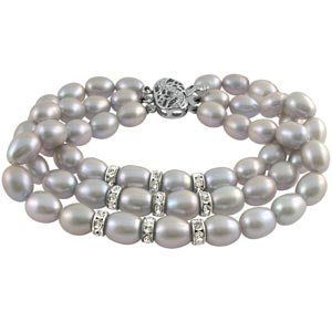 Jpearls Three String Grey Pearl Braclet