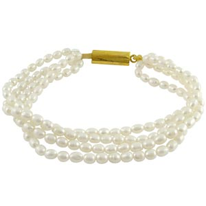Jpearls Four String White Pearl Braclet
