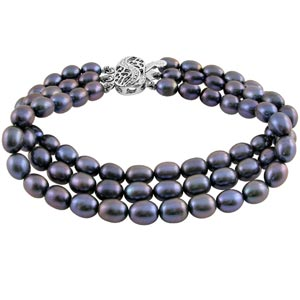 Jpearls Three String Grey Pearl Bracelet