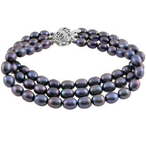 Pearl Bracelets-Jpearls Three String Grey Pearl Bracelet
