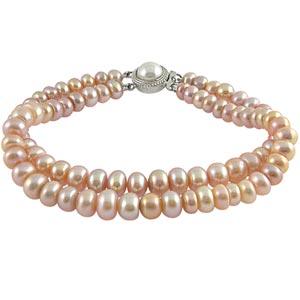 Jpearls Two String Pink Pearl Braclet