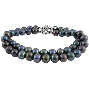 Jpearls Two String Grey Pearl Bracelet