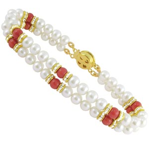 Jpearls Two String Red Stone Pearl Braclet