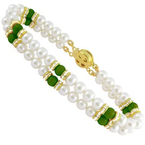 Jpearls Two String Green Stone Pearl Braclet