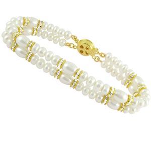 Jpearls Dazzeling Two String Pearl Bracelet