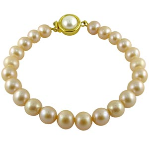 Jpearls Single Line Peach Pearl Bracelet