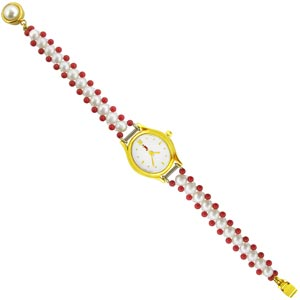 Jpearls Red Stone Pearl Watch
