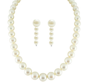 Jpearls Single Line Pearl Necklace Set