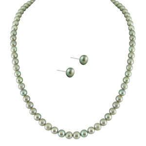 Jpearls Simple Grey Pearl Set