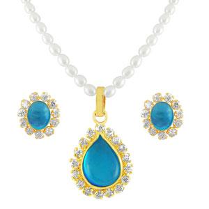 Jpearls Sky Blue Stone Pearl Set