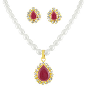 Pearl Sets-Jpearls Red Stone Pearl Set