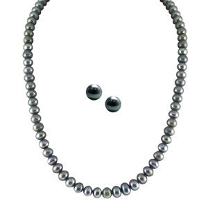 Jpearls Single Line Grey Pearl Set