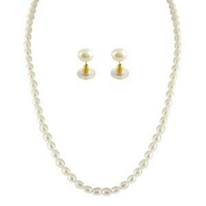 Jpearls 1 Line Oval Pearl Necklace Set