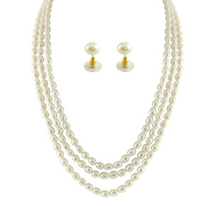 Jpearls 3 String Oval Pearl Necklace Set