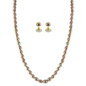 Jpearls Single Line Pink Pearl Set
