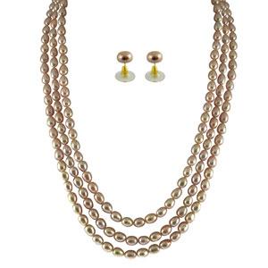 Jpearls 3 String Pink Pearl Set