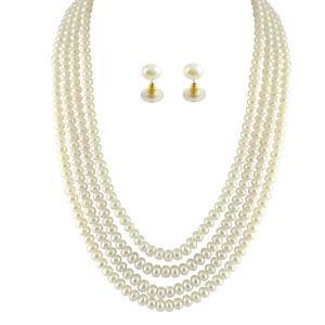 Jpearls 4 String White Pearl Set