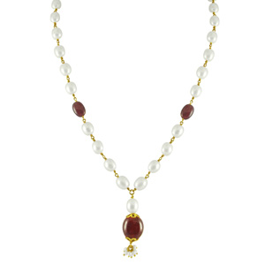 Jpearls Astral Ruby Pearl Gold Set
