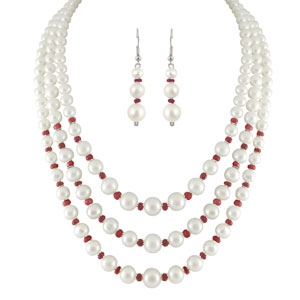 Jpearls 3 Strings White Pearl Necklace Set