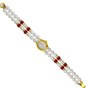Jpearls Classic Red Pearl Watch