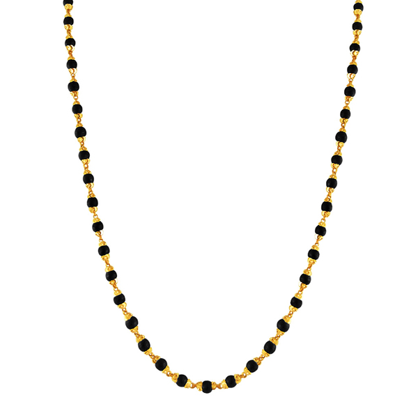 Jpearls Black Bead Gold Chain