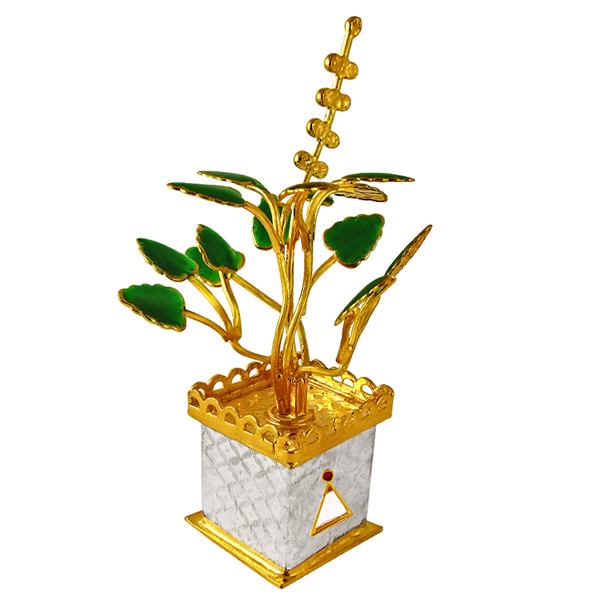 Jpearls Gold Plated Tulsi Plant