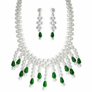 Bridal Sets-Jpearls Green Drop Pearl Bridal Set