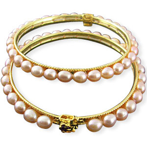 Pearl Bangles-Pink Pearl Bangles