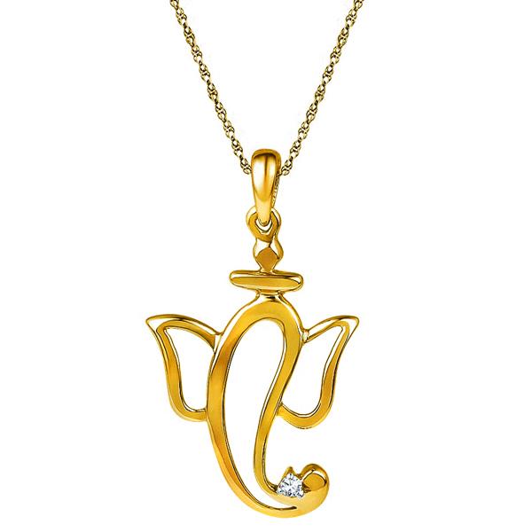 Jpearls 18 kt Gold Ganapati Diamond Pendant