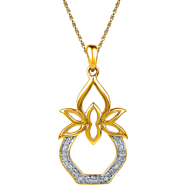 Jpearls 18 kt Gold Kalash Diamond Pendant