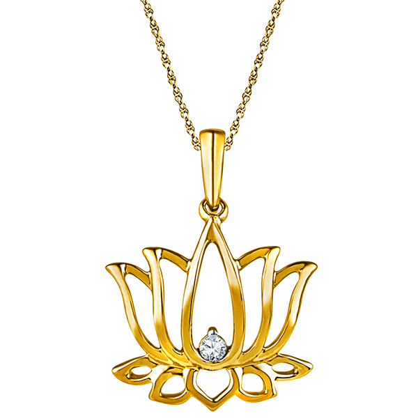 Jpearls 18 kt Gold Holy Lotus Diamond Pendant