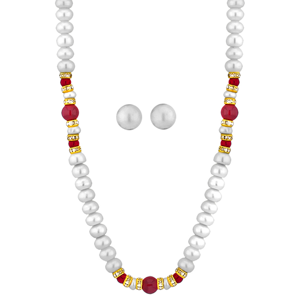 Jpearls Delightful Button Pearl Necklace