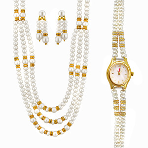 Jpearls Exquisite Necklace Set with Watch