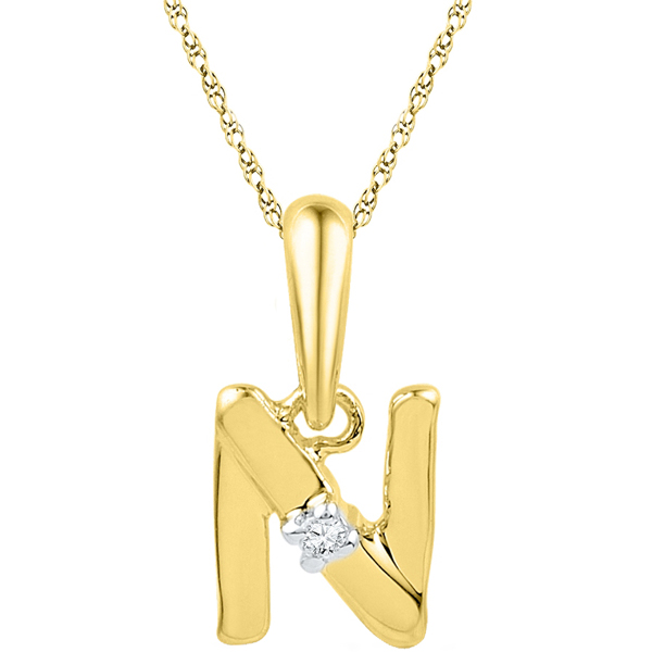 Jpearls Alphabet N Diamond Pendent