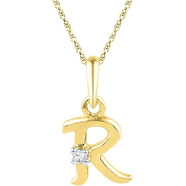 Jpearls Gold Alphabet R Diamond Pendent