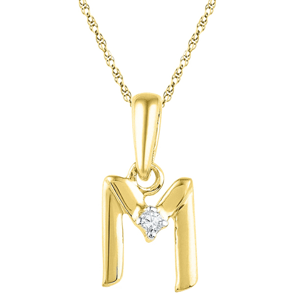 Jpearls Gold Alphabet M Diamond Pendent