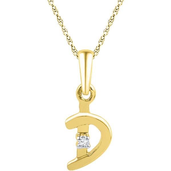Jpearls Gold Alphabet D Diamond Pendent