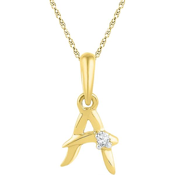 Jpearls Gold Alphabet A Diamond Pendent