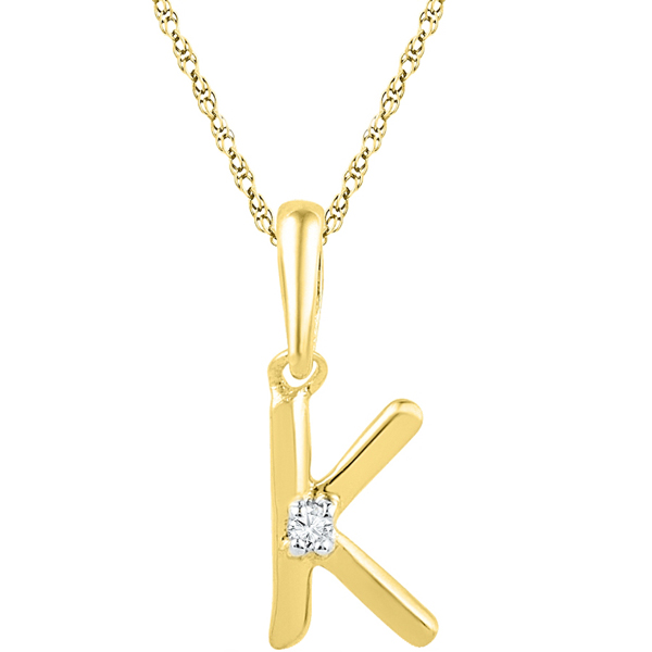 Jpearls Gold Alphabet K Diamond Pendent