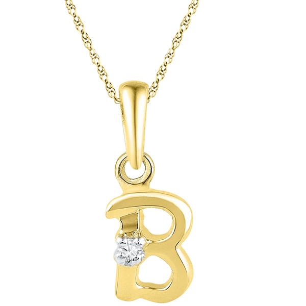 Jpearls Gold Alphabet B Diamond Pendent