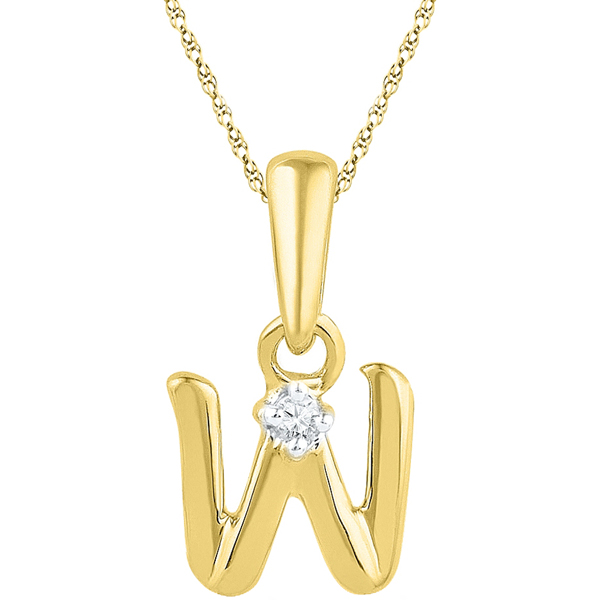 Jpearls Gold Alphabet W Diamond Pendent