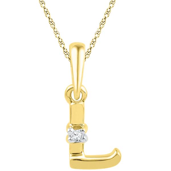 Jpearls Gold Alphabet L Diamond Pendent
