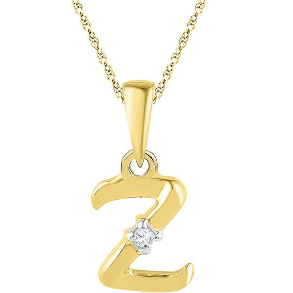 Jpearls Gold Alphabet Z Diamond Pendent